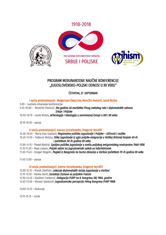 Program konferencije ''Jugoslovensko-poljski odnosi u XX veku'' 2018_Page_1