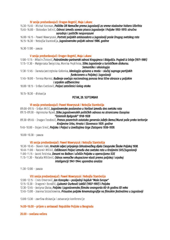 Program konferencije ''Jugoslovensko-poljski odnosi u XX veku'' 2018_Page_2